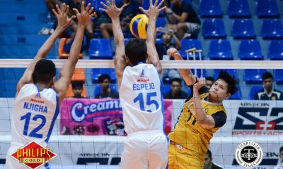 Tiebreaker Times UST ends Ateneo's three-year PVL dominance, forces Game Three ADMU News PVL UST Volleyball  UST Men's Volleyball Timothy Tajanlangit Oliver Almadro Odjie Mamon Lester Sawal Josh Umandal Janjan Rivera Gian Glorioso Ateneo Men's Volleyball Arnold Bautista 2017 PVL Season 2017 PVL Men's Collegiate