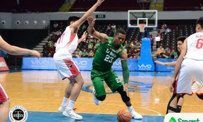 Tiebreaker Times Ben Mbala hounds Alvin Pasaol as La Salle clinches Final Four spot Basketball DLSU News UAAP UE  UE Men's Basketball UAAP Season 80 Men's Basketball UAAP Season 80 Santi Santillan Ricci Rivero Mark Olayon Justine Baltazar DLSU Men's Basketball Derrick Pumaren Ben Mbala Alvin Pasaol Aldin Ayo