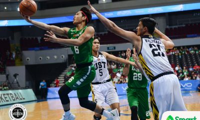 Tiebreaker Times La Salle demolishes UST anew to go one win shy of twice-to-beat Basketball DLSU News UAAP UST  UST Men's Basketball UAAP Season 80 Men's Basketball UAAP Season 80 Steve Akomo Ricci Rivero Prince Rivero Marvin Lee Jollo Go DLSU Men's Basketball Boy Sablan Ben Mbala Aldin Ayo
