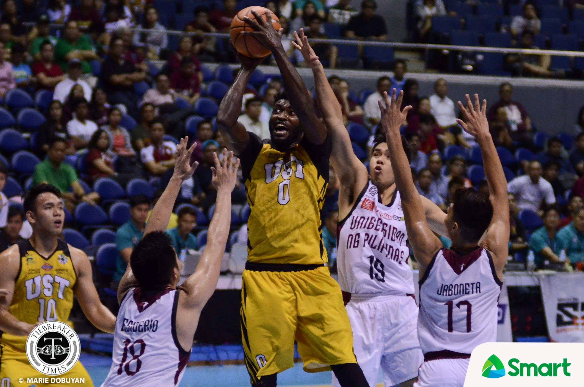 Tiebreaker Times Jun Manzo hopes 'Cebu brother' Steve Akomo makes speedy recovery Basketball News UAAP UP UST  UP Men's Basketball UAAP Season 81 Women's Basketball UAAP Season 81 Steve Akomo Jun Manzo