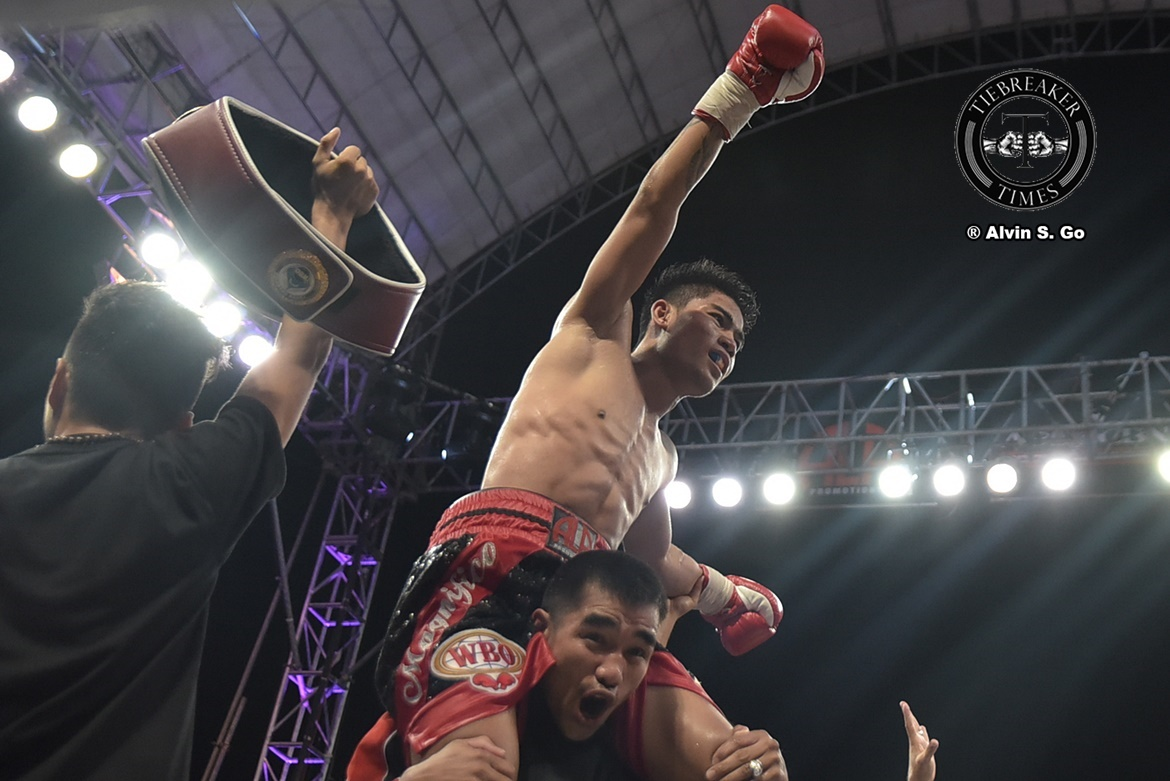 Philippine Sports News - Tiebreaker Times Mark Magsayo retains WBO International crown in homecoming Boxing News  Pinoy Pride 43 Mark Magsayo Jeo Santisima Albert Pagara ALA Promotions