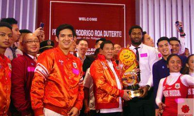 Tiebreaker Times San Beda presents NCAA crown to Pres. Duterte Basketball NCAA News SBC  San Beda Seniors Basketball Rodrigo Duterte NCAA Season 93 Seniors Basketball NCAA Season 93 Jude Roque