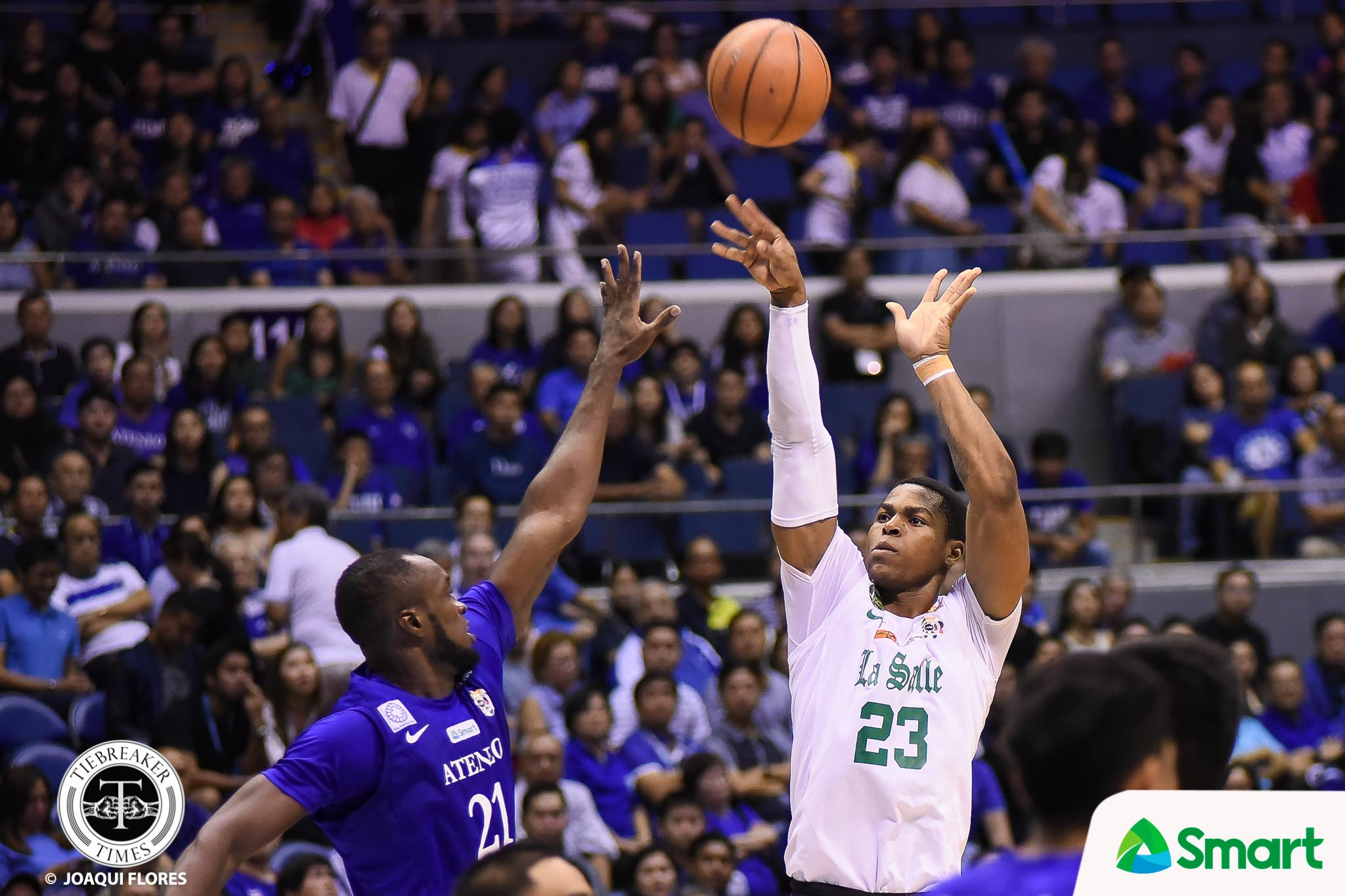 Philippine Sports News - Tiebreaker Times Chooks/SMART Player of the Week Ben Mbala spoils Ateneo's outright Finals bid Basketball DLSU News UAAP  UAAP Season 80 Men's Basketball UAAP Season 80 UAAP Player of the Week Steve Akomo Paul Desiderio DLSU Men's Basketball Chooks-to-Go Ben Mbala Arvin Tolentino