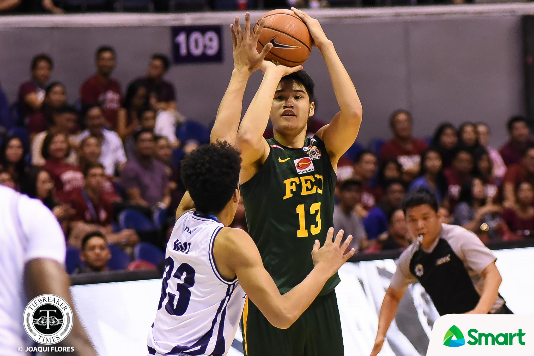 Philippine Sports News - Tiebreaker Times FEU books last playoff ticket AdU Basketball FEU News UAAP  UAAP Season 80 Men's Basketball UAAP Season 80 Robbie Manalang Richard Escoto Prince Orizu Papi Sarr Olsen Racela Franz Pumaren FEU Men's Basketball Arvin Tolentino Adamson Men's Basketball