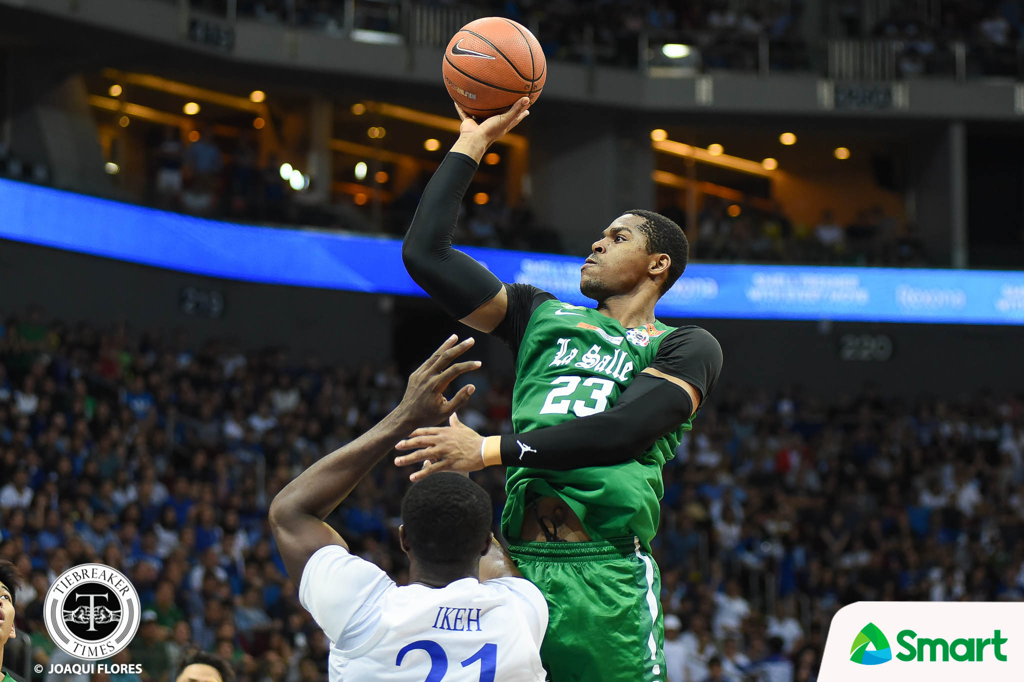 Philippine Sports News - Tiebreaker Times Emotions, physicality get best of Ben Mbala in Game One Basketball DLSU News UAAP  UAAP Season 80 Men's Basketball UAAP Season 80 DLSU Men's Basketball Ben Mbala