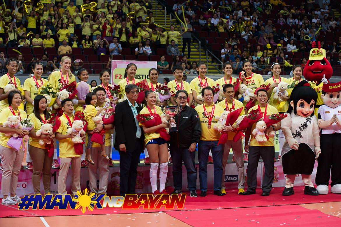 Philippine Sports News - Tiebreaker Times F2 Logistics claims franchise's first-ever Grand Prix crown News PSL Volleyball  Shaq delos Santos Ramil De Jesus Petron Blaze Spikers Maria Jose Perez Majoy Baron Lindsay Stalzer Kennedy Bryan Hillary Hurley F2 Logistics Cargo Movers Dawn Macandili Chooks-to-Go Cha Cruz 2017 PSL Season 2017 PSL Grand Prix