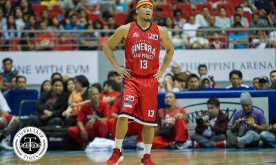 Tiebreaker Times Mark Caguioa pays tribute to buddy Jayjay Helterbrand, knocks down 700th triple Basketball News PBA  PBA Season 43 Mark Caguioa Jayjay Helterbrand Barangay Ginebra San Miguel 2017-18 PBA Philippine Cup