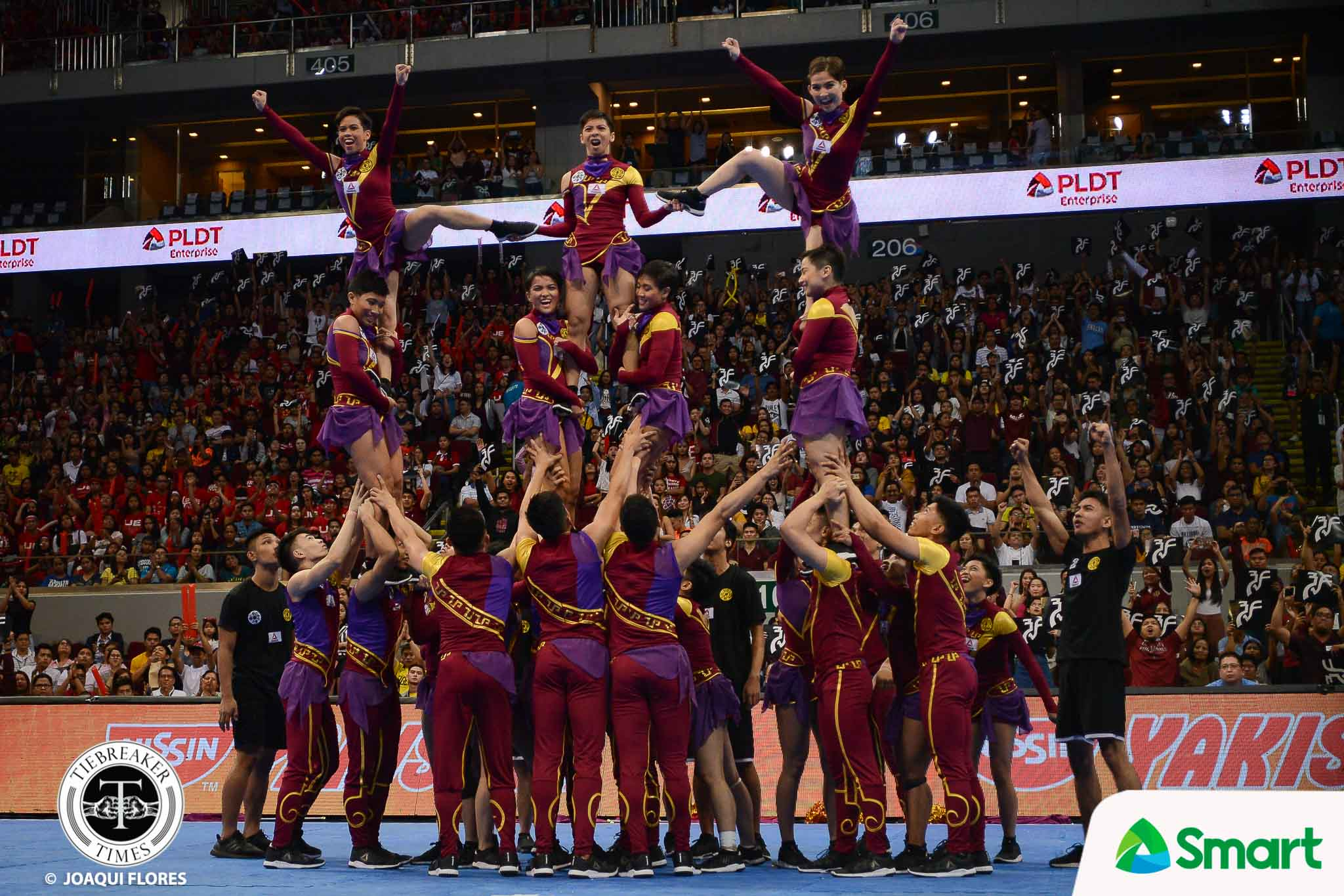 Tiebreaker Times Rookie-laden UP Pep relishes UAAP return Cheerleading News UAAP UP  UP Pep Squad UAAP Season 80 Cheerdance UAAP Season 80 Thea Obanil NJ Antonio Megan Mendoza
