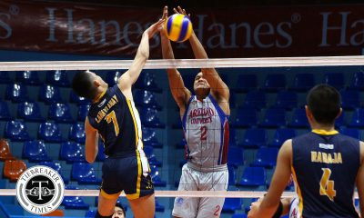 Tiebreaker Times Chiefs remain unscathed, rally past Heavy Bombers AU JRU NCAA News Volleyball  Wenjo Lahaylahay Sherwin Meneses Ryan Dela Paz NCAA Season 93 Men's Volleyball NCAA Season 93 Kevin Liberato JRU Men's Volleyball Joshua Esguerra Edmark Meneses Christian Segovia Arellano Men's Volleyball