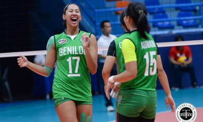 Tiebreaker Times Saint Benilde ends Arellano's 19-game winning streak, stays alive in Final Four hunt AU CSB NCAA News Volleyball  Saint Benilde Women's Volleyball Ranya Musa Rachel Austero Obet Javier NCAA Season 93 Women's Volleyball NCAA Season 93 Melanie Torres Marites Pablo Klarisa Abriam Jovielyn Prado Danielle Lim Chie Cardiente Arnold Laniog Arellano Women's Volleyball