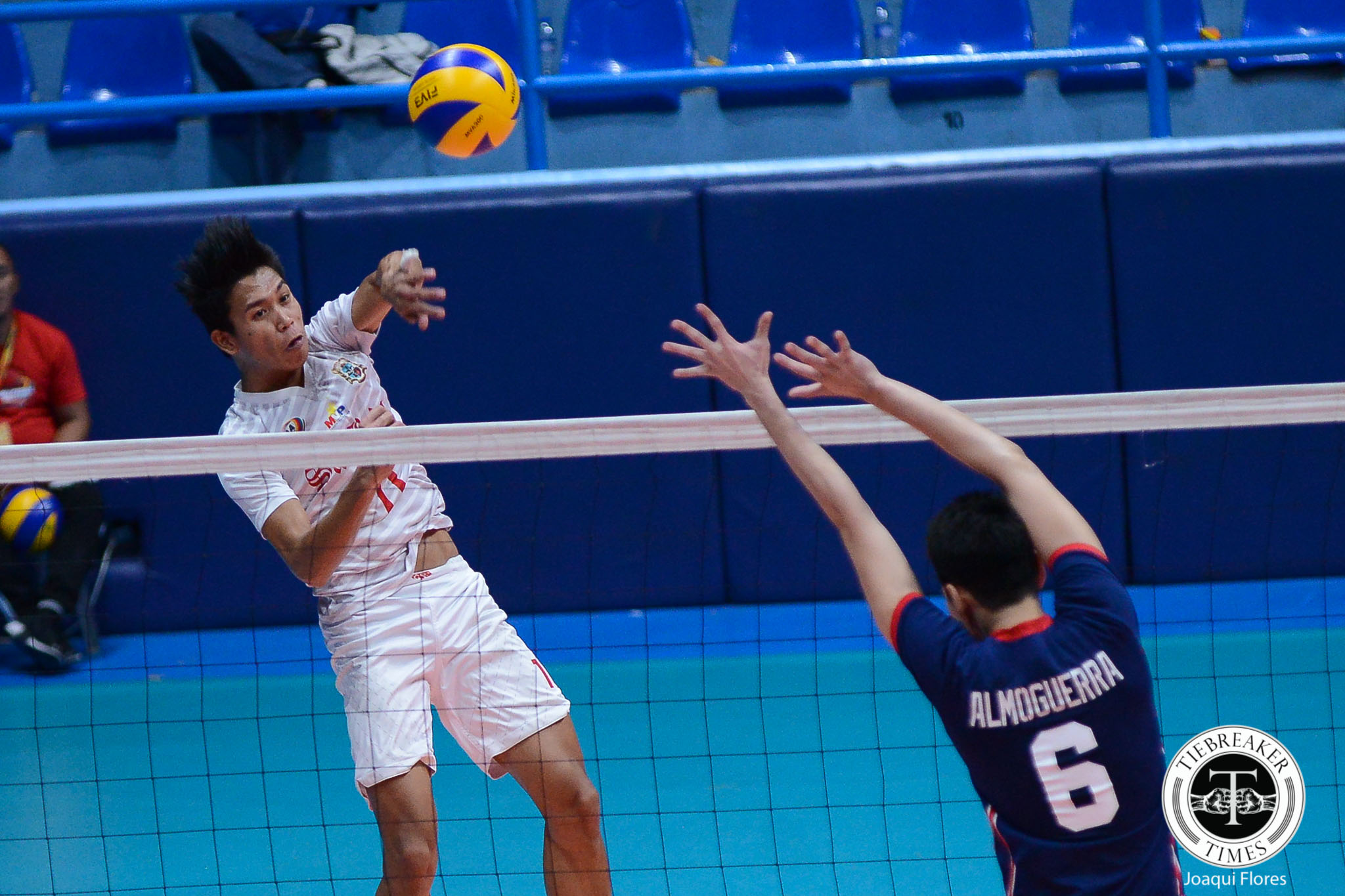 Tiebreaker Times San Beda fends off Letran for back-to-back wins CSJL NCAA News SBC Volleyball  San Beda Men's Volleyball Rodel Casin Nes Pamilar NCAA Season 93 Men's Volleyball NCAA Season 93 Mark Enciso Limuel Patenio Letran Men's Volleyball JC Desuyo Brian Esquibel Bobby Gatdula