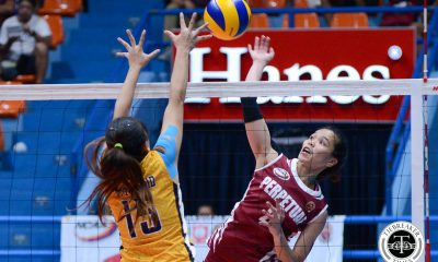 Tiebreaker Times Perpetual dumps Letran for solo third CSJL NCAA News UPHSD Volleyball  Trisha Coching Perpetual Women's Volleyball Necelle Gual NCAA Season 93 Women's Volleyball NCAA Season 93 Mike Inoferio Marijo Medalla Macky Cariño Lourdes Clemente Letran Women's Volleyball Jowie Verzosa Glayssa Torres Cindy Imbo Charm Simborio Bianca Tripoli