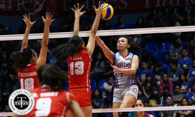 Tiebreaker Times Lady Chiefs blast Lady Red Spikers, take semis berth in style AU NCAA News SBC Volleyball  Sarah Verutiao San Beda Women's Volleyball Regine Arocha Obet Javier Nieza Viray Nemesio Gavino NCAA Season 93 Women's Volleyball NCAA Season 93 Jovielyn Prado Faye Flores Cesca Racraquin Arellano Women's Volleyball