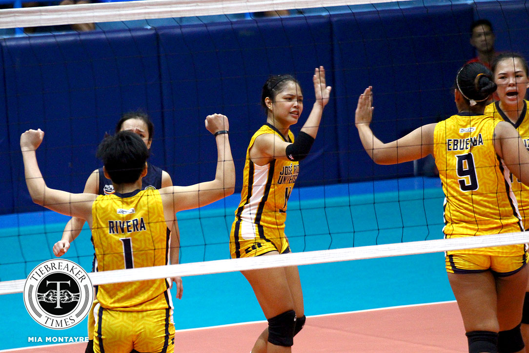 Philippine Sports News - Tiebreaker Times JRU rallies historic win over San Sebastian JRU NCAA News SSC-R Volleyball  Shola Alvarez San Sebastian Women's Volleyball Roger Gorayeb Nikka Dalisay NCAA Season 93 Women's Volleyball NCAA Season 93 Mia Teoseco Marcy Rivera Mapua Women's Volleyball Joyce Sta. Rita Dolly Versoza Annia Macaraya