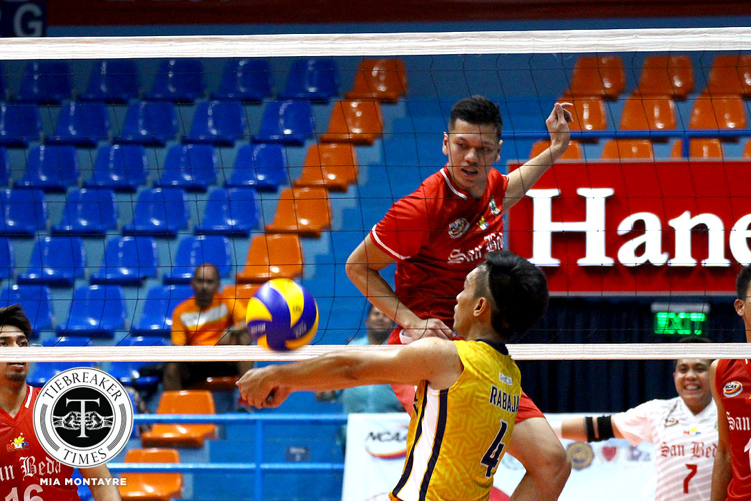 Tiebreaker Times Red Spikers scrape past Golden Stags, solidify semis bid NCAA News SBC SSC-R Volleyball  San Sebastian Men's Volleyball San Beda Men's Volleyball Rodel Casin Nes Pamilar NCAA Season 93 Men's Volleyball NCAA Season 93 Mark Enciso Limuel Patenio JC Desuyo James Gonzales Jahir Ebrahim Gerald Zabala Clint Malazo
