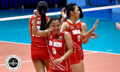 Tiebreaker Times San Beda clinches school's first-ever twice-to-beat edge in Women's Volleyball EAC NCAA News SBC Volleyball  San Beda Women's Volleyball Rebecca Cuevas Nieza Viray Nemesio Gavino NCAA Season 93 Women's Volleyball NCAA Season 93 Ladeisheen Magbanua Jaylene Lumbo Francesca Racraquin EAC Women's Volleyball Daryl Racraquin