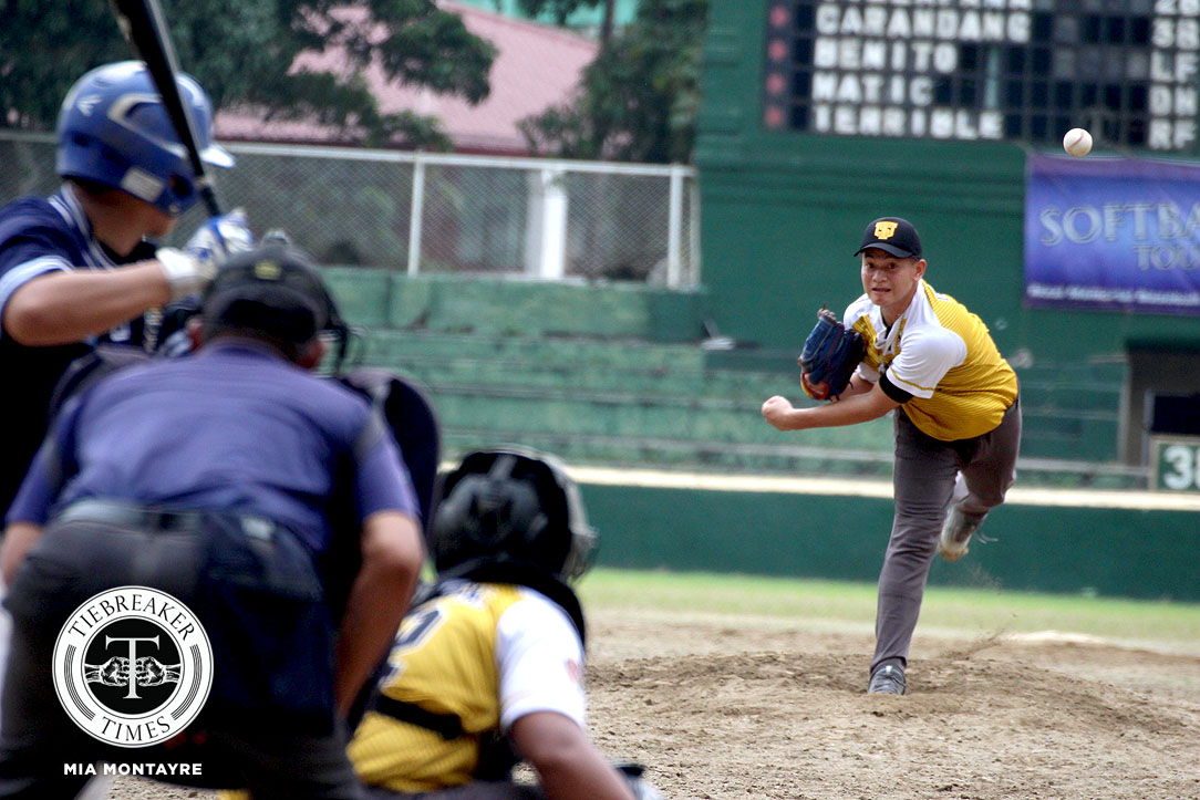 Tiebreaker Times Ron dela Cruz does a one man show in UST's shutout of Adamson AdU Baseball News UAAP UST  UST Golden Sox UAAP Season 80 Baseball UAAP Season 80 Ron Dela Cruz Orlando Binarao Michael Catalan Jeffrey Santiago Adamson Baseball