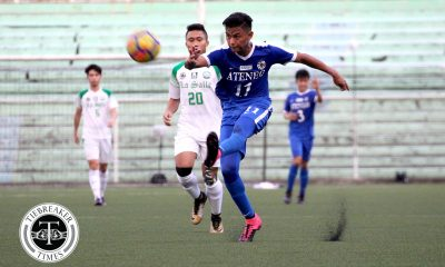 Tiebreaker Times Jarvey Gayoso double lifts Ateneo past archrivals La Salle ADMU DLSU Football News UAAP  UAAP Season 80 Men's Football UAAP Season 80 Paeng De Guzman Mauro Acot John Paul Merida Jarvey Gayoso Hans-Peter Smit DLSU Men's Football Ateneo Men's Football AJ Arcilla