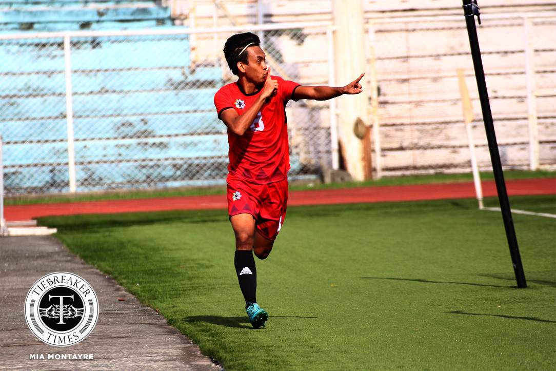 Tiebreaker Times Late Jasper Absalon goal grants UE narrow win over NU Football News NU UAAP UE  UE Men's Football UAAP Season 80 Men's Football UAAP Season 80 NU Men's Football Maverick Perocho Mari Aberasturi Jasper Absalon Frank Rieza Fitch Arboleda