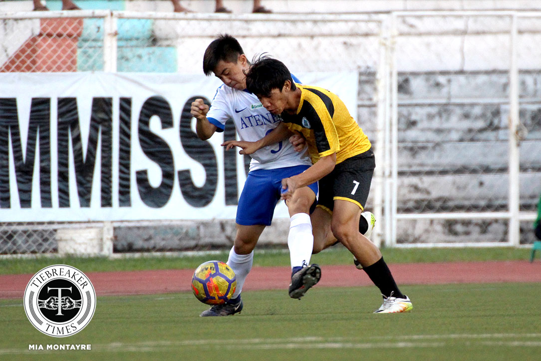 Tiebreaker Times Conrado Dimacali strikes in overtime as Golden Booters dethrone Blue Eagles ADMU Football News UAAP UST  Zaldy Abraham UST Men's Football UAAP Season 80 Men's Football UAAP Season 80 Marjo Allado John Paul Merida Jarvey Gayoso Jae Arcilla Conrado Dimacali Ateneo Men's Football