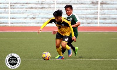 Tiebreaker Times Marvin Bricenio's hattrick propels UST over undermanned FEU FEU Football News UAAP UST  Vince Santos UST Men's Football UAAP Season 80 Men's Football UAAP Season 80 RJ Joyel Marvin Jake Bricenio Marjo Allado Jose Zaldy Abraham FEU Men's Football AJ Pasion