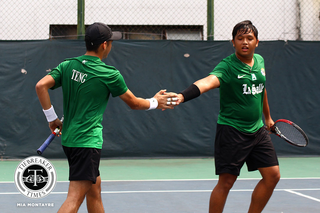 Tiebreaker Times Green Tennisters shut down Fighting Maroons for second win DLSU News Tennis UAAP UP  UP Men's Tennis UAAP Season 80 Men's Tennis UAAP Season 80 Raphael Teng Qoqo Allian LA Cañizares Kyle Parpan Jonah Cano Hans Asistio DLSU Men's Tennis Betto Orendain