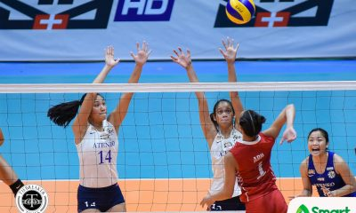 Tiebreaker Times Lady Eagles shrug off early scare, grab second win ADMU News UAAP UE Volleyball  UE Women's Volleyball UAAP Season 80 Women's Volleyball UAAP Season 80 Tai Bundit Ria Lo Mary Ann Mendrez Maddie Madayag Kath Arado Jhoana Maraguinot Francis Vicente Deana Wong Bea De Leon Ateneo Women's Volleyball