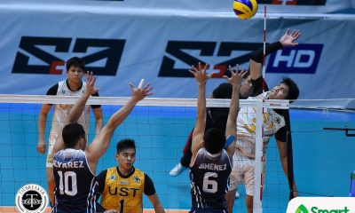 Tiebreaker Times Tiger Spikers floor Soaring Falcons for third win AdU News UAAP UST Volleyball  UST Men's Football UAAP Season 80 Men's Football UAAP Season 80 Timothy Tajanlangit Pao Pablico Odjie Mamon Lester Sawal Leo Miranda Joshua Umandal Domingo Custodio Arnold Bautista Adamson Men's Football