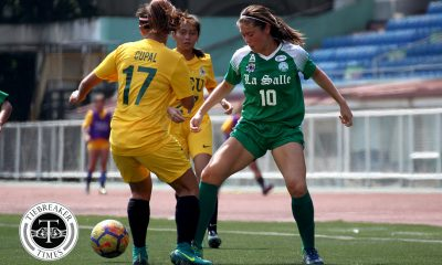 Philippine Sports News - Tiebreaker Times Nicole Andaya nets header as La Salle gets bounce back win at FEU's expense DLSU FEU Football News UAAP  UAAP Season 80 WOmen's Football UAAP Season 80 Nicole Andaya Natasha Lacson Let Dimzon Kimberly Parina Hans-Peter Smit FEU Women's Football DLSU Women's Football