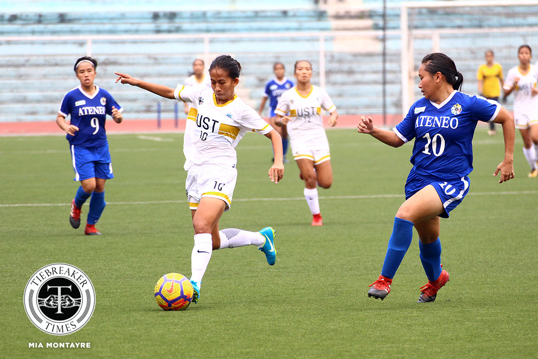 Tiebreaker Times Shela Cadag, Charisa Lemoran strikes sink Ateneo for UST's first win ADMU Football News UAAP UST  UST Women's Football UAAP Season 80 WOmen's Football UAAP Season 80 Tessa Bernardo Shela Cadag Nicole Reyes John Paul Merida Charisa Lemoran Ateneo Women's Football Aging Rubio