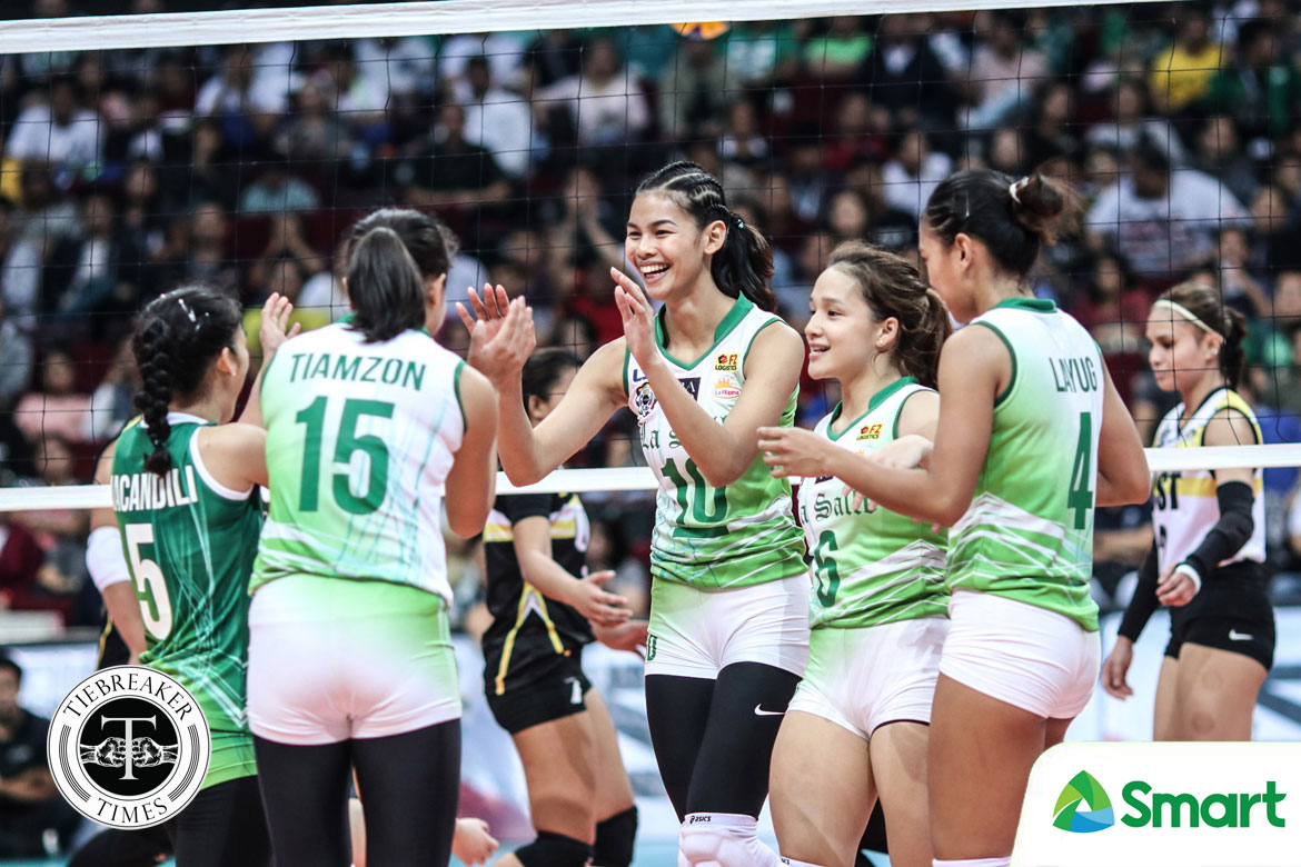 Tiebreaker Times La Salle vanquishes Rondina, UST for first win DLSU News UAAP UST Volleyball  UST Women's Volleyball UAAP Season 80 Women's Volleyball UAAP Season 80 Ramil De Jesus Milena Alessandrini Michelle Cobb Majoy Baron Kungfu Reyes DLSU Women's Volleyball Desiree Cheng Dawn Macandili Cherry Rondina