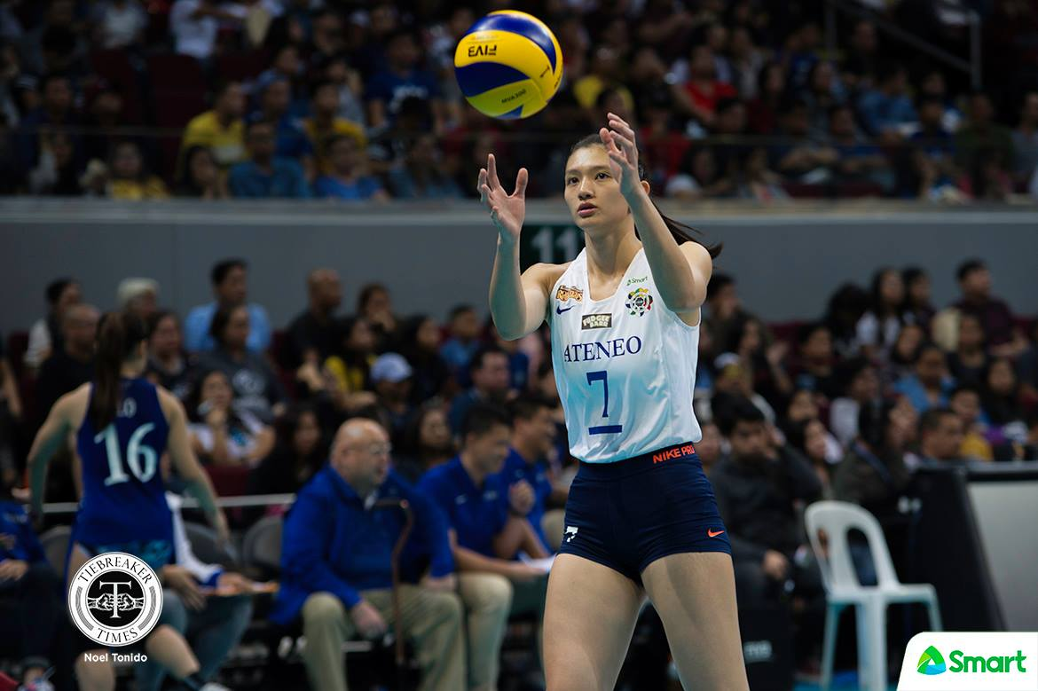 Philippine Sports News - Tiebreaker Times Unfamiliar territory for the Lady Eagles ADMU News UAAP Volleyball  UAAP Season 80 Women's Volleyball UAAP Season 80 Maddie Madayag Jho Maraguinot Ateneo Women's Volleyball