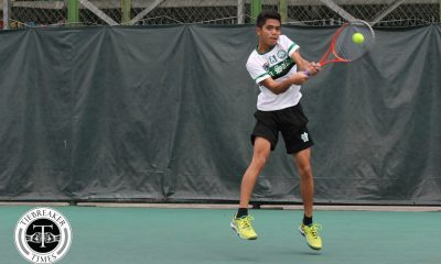 Tiebreaker Times La Salle repeats rout of UP for share of second DLSU News Tennis UAAP UP  UP Men's Tennis UAAP Season 80 Men's Tennis UAAP Season 80 Qoqo Allian Mimo Tomacruz LA Cañizares Kyle Parpan Jonah Cano Elijah Arevalo DLSU Men's Tennis Betto Orendain