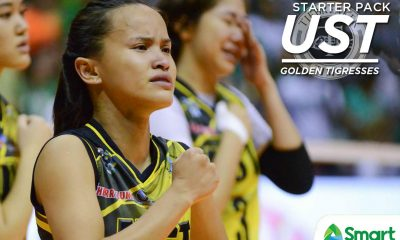 Tiebreaker Times UAAP Season 80 Starter Pack: UST Golden Tigresses Bandwagon Wire UAAP UST Volleyball  UST Women's Volleyball UAAP Season 80 Women's Volleyball UAAP Season 80 Kungfu Reyes EJ Laure Dimdim Pacres Cherry Rondina Carla Sandoval