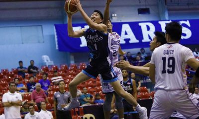 Philippine Sports News - Tiebreaker Times Sean Manganti powers Akari-Adamson's whitewashing of Wangs-Letran for share of first AdU Basketball CSJL News PBA D-League  Wangs-Letran Knights Simon Camacho Sean Manganti Rey Publico Papi Sarr Jerrick Ahanmisi Jeo Ambohot Jeff Napa Franz Pumaren Akari-Adamson Soaring Falcons 2018 PBA D-League Season 2018 PBA D-League Aspirants Cup