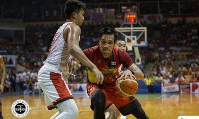 Philippine Sports News - Tiebreaker Times San Miguel survives Japeth Aguilar's 34, Scottie Thompson's triple-double to advance to Finals Basketball News PBA  Tim Cone Sol Mercado Scottie Thompson San Miguel Beermen PBA Season 43 Matt Ganuelas-Rosser Marcio Lasster Leo Austria June Mar Fajardo Japeth Aguilar Barangay Ginebra San Miguel Arwind Santos Alex Cabagnot 2017-18 PBA Philippine Cup