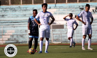 Tiebreaker Times Julian Roxas strike leads underwhelming Ateneo past stubborn Adamson ADMU AdU Football News UAAP  UAAP Season 80 Men's Football UAAP Season 80 Philippine Sports News Nolan Manito Julian Roxas John Paul Merida James Haosen Jae Arcilla Carl Viray Ateneo Men's Football Adamson Men's Football