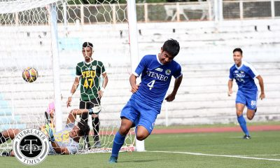 Tiebreaker Times Ryan Haosen late winner overturns Gilbert Mendoza hattrick as Ateneo outlasts FEU ADMU FEU Football News UAAP  UAAP Season 80 Men's Football UAAP Season 80 Ryan Haosen Park Bo Bae Julian Roxas John Paul Merida Jarvey Gayoso Jae Arcilla Gilbert Mendoza FEU Men's Football Dave Parac Ateneo Men's Football