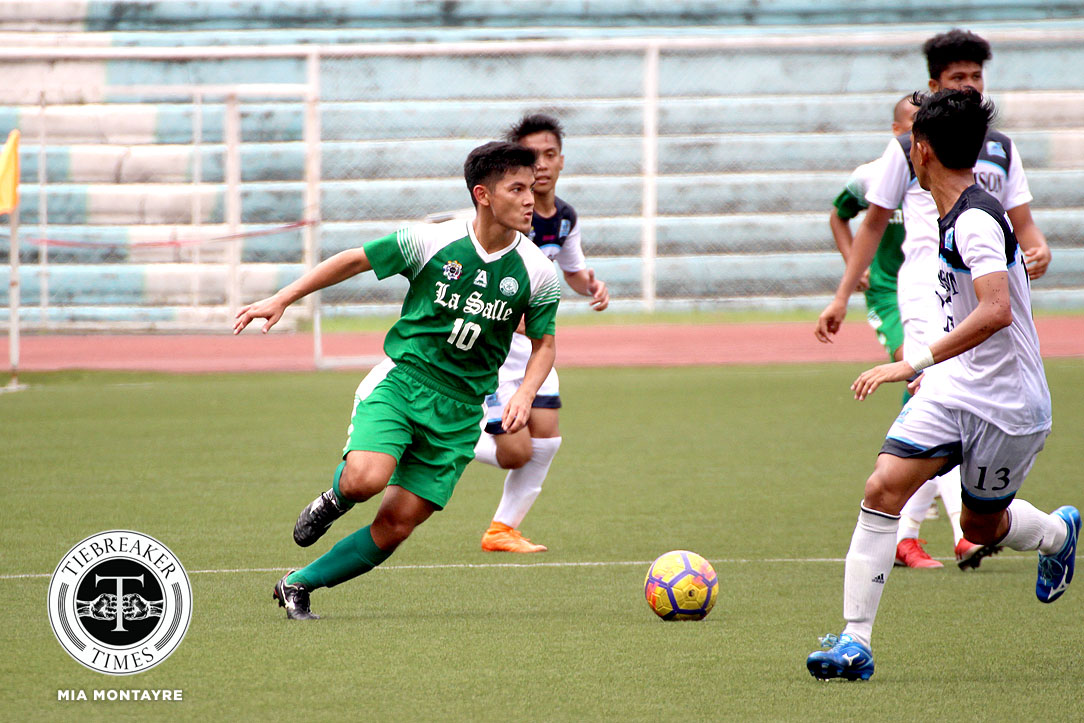 Tiebreaker Times La Salle overcomes scoring woes to start second round with Adamson win AdU DLSU Football News UAAP  UAAP Season 80 Men's Football UAAP Season 80 Paeng De Guzman Nolan Manito Jed Diamante Hans-Peter Smit DLSU Men's Football Chris Lawless Carl Viray Adamson Men's Football