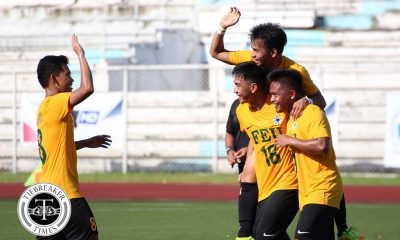 Philippine Sports News - Tiebreaker Times Arnel Amita, Resty Monterona ignite FEU comeback over shell-shocked UE FEU Football News UAAP UE  Vince Santos UE Men's Football UAAP Season 80 Men's Football UAAP Season 80 Resty Monterona Mar Diano Gilbert Mendoza Frank Rieza Fitch Arboleda FEU Men's Football Dave Parac Arnel Amita
