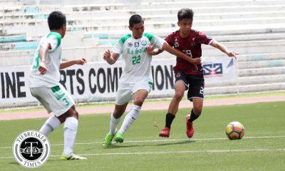 Philippine Sports News - Tiebreaker Times Semis-bound Fighting Maroons outlast Green Booters to remain unscathed DLSU Football News UAAP UP  UP Men's Football UAAP Season 80 Men's Football UAAP Season 80 Paeng De Guzman Harel Dayan Hans-Peter Smit Fidel Tacardon DLSU Men's Football Daniel Saavedra Anto Gonzales