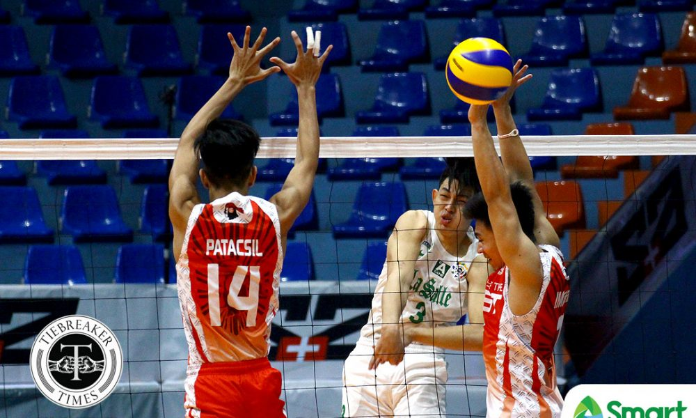 Philippine Sports News - Tiebreaker Times Green Spikers whip hapless Red Warriors for fourth win DLSU News UAAP UE Volleyball  Wayne Marco UE Men's Volleyball UAAP Season 80 Men's Volleyball UAAP Season 80 Rod Roque Raymark Woo Norman Miguel Jopet Movido DLSU Men's Volleyball Arjay Onia Alven Aljas