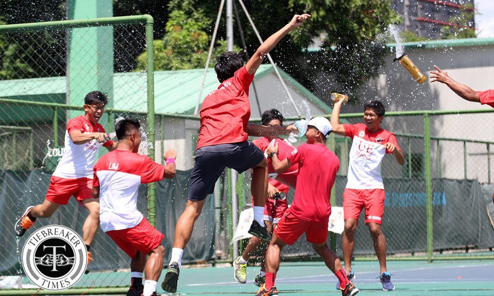 UAAP 80 Men's Tennis – Finals – UE def ADMU – UE celebrate