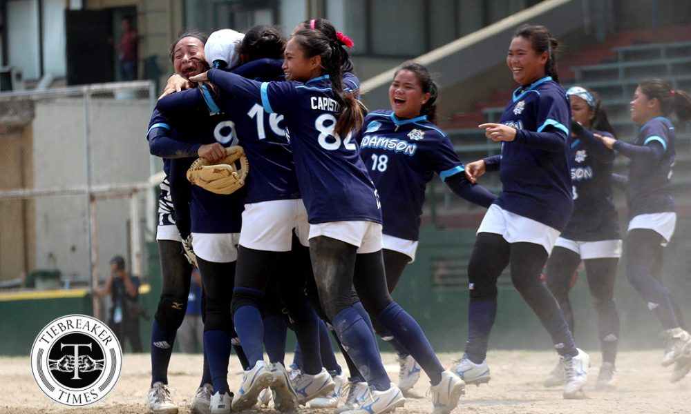 UAAP 80 Softball – Finals G3 – AdU def UST – Adamson celebrate