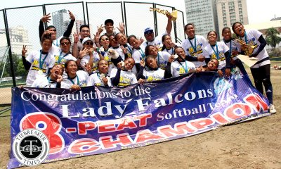 Tiebreaker Times Lady Falcons extend dynasty to eight golden years AdU News Softball UAAP UST  UST Softball UAAP Season 80 Softball UAAP Season 80 Shiela Perales Sandy Barredo Riezel Calumbres Lyca Basa Gelyn Lamata Edna Severino Dely Covarrubias CJ Roa Ann Antolihao Ana Santiago Adamson Softball