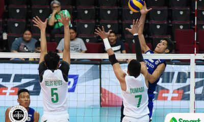 Tiebreaker Times Blue Eagles rattle off 6th straight win, conquer Green Spikers ADMU DLSU News UAAP Volleyball  UAAP Season 80 Men's Volleyball UAAP Season 80 Ron Medalla Raymark Woo Oliver Almadro Norman Miguel Marck Espejo Manuel Sumanguid Ish Polvorosa DLSU Men's Volleyball Ateneo Men's Volleyball Arjay Onia