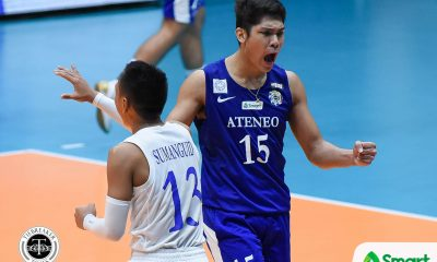 Philippine Sports News - Tiebreaker Times Blue Eagles topple Tamaraws behind another March Espejo blitz ADMU FEU News UAAP Volleyball  UAAP Season 80 Men's Volleyball UAAP Season 80 Rey Diaz Oliver Almadro Marck Espejo Manuel Sumanguid Jude Garcia JP Bugaoan Ish Polvorosa FEU Men's Volleyball Ateneo Men's Volleyball