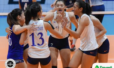 Philippine Sports News - Tiebreaker Times Lady Eagles floor struggling Lady Bulldogs to create logjam for second ADMU News NU UAAP Volleyball  UAAP Season 80 Women's Volleyball UAAP Season 80 Tai Bundit Risa Sato Ria Lo NU Women's Volleyball Maddie Madayag Jhoana Maraguinot Jaja Santiago Deana Wong Babes Castillo Ateneo Women's Volleyball