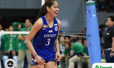 Tiebreaker Times SMART Sports Player of the Week Deanna Wong continues to trust 'Heartstrong' mantra ADMU News UAAP Volleyball  UAAP Season 80 Women's Volleyball UAAP Season 80 UAAP Player of the Week Deanna Wong Ateneo Women's Volleyball