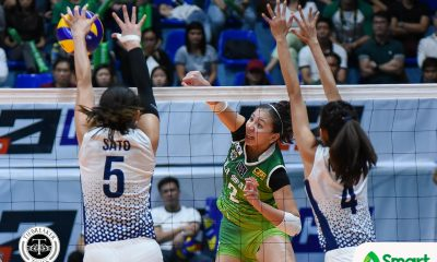 Tiebreaker Times La Salle avenges first round loss, hands NU second loss DLSU News UAAP UP Volleyball  UAAP Season 80 Women's Volleyball UAAP Season 80 Risa Sato Ramil De Jesus NU Women's Volleyball Michelle Cobb Kim Dy Jaja Santiago DLSU Women's Volleyball Desiree Cheng Dawn Macandili Babes Castillo